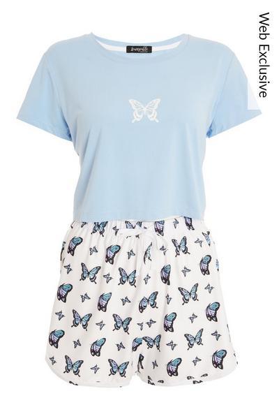Blue Butterfly Short Pyjama Set
